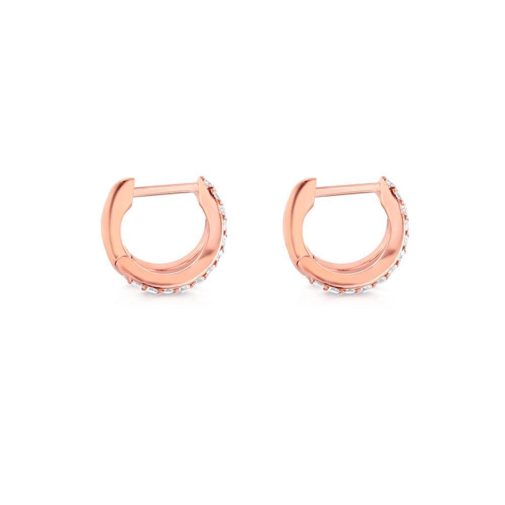 Rose Gold Diamond Split Huggie Earrings by Carbon & Hyde Side View