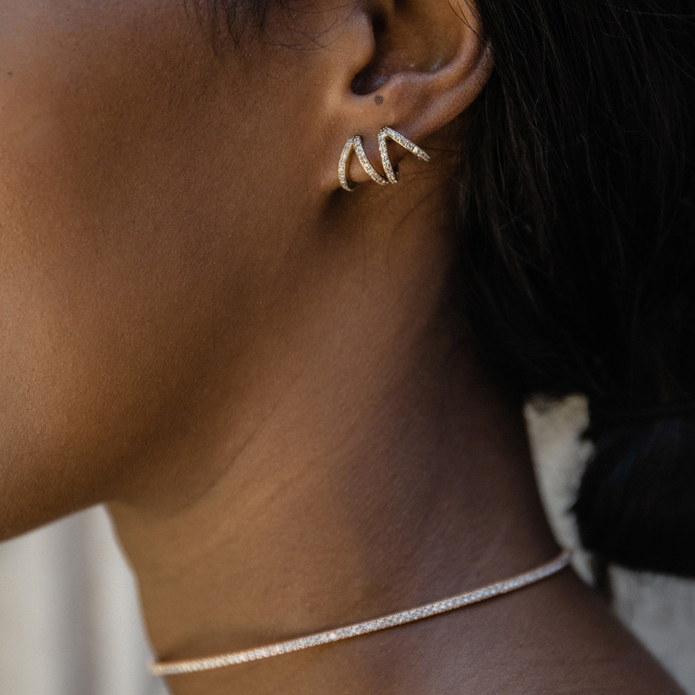 Yellow Gold Diamond Split Huggie Earrings by Carbon & Hyde on Model