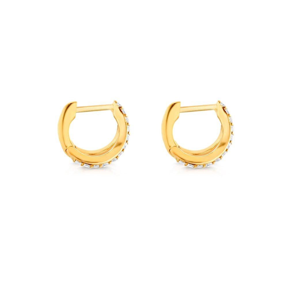 Yellow Gold Diamond Split Huggie Earrings by Carbon & Hyde Side View