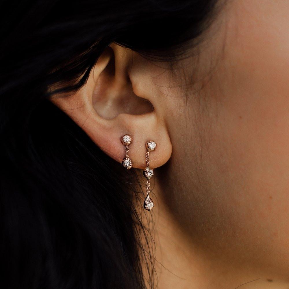 Rose Gold Rosette Belle Diamond Drop Earrings by Carbon & Hyde on Model