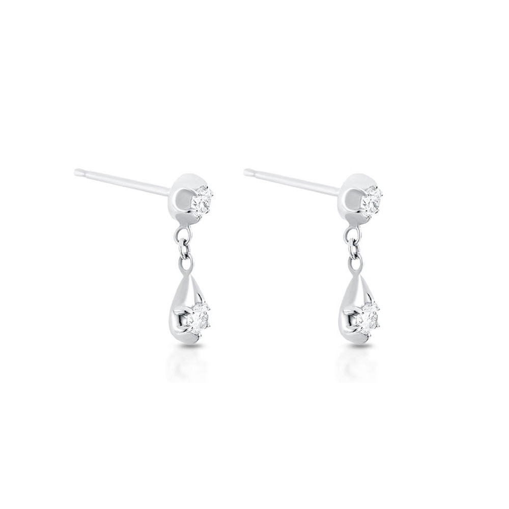White Gold Rosette Belle Diamond Drop Earrings by Carbon & Hyde Angle View