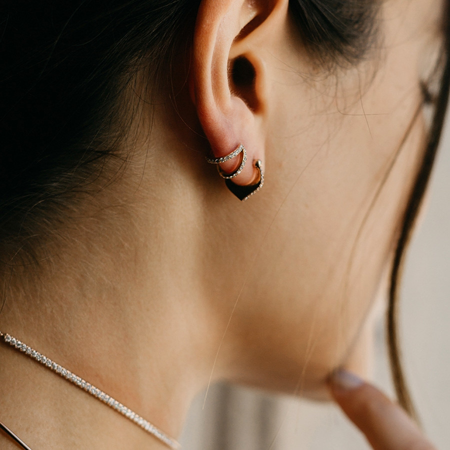 Carbon & Hyde Mini Nirvana Rose Gold Diamond Earrings on Model