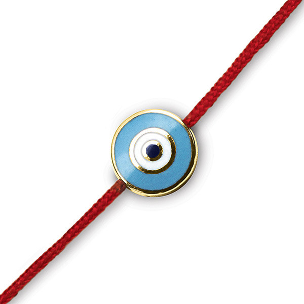 Aaron Basha Evil Eye 18kt Yellow Gold on Red Cord Bracelet
