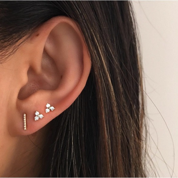 EF Collection Mini Diamond Bar Stud Yellow Gold Earrings on Model