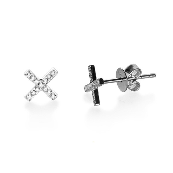 EF Collection Diamond X White Gold Stud Earrings