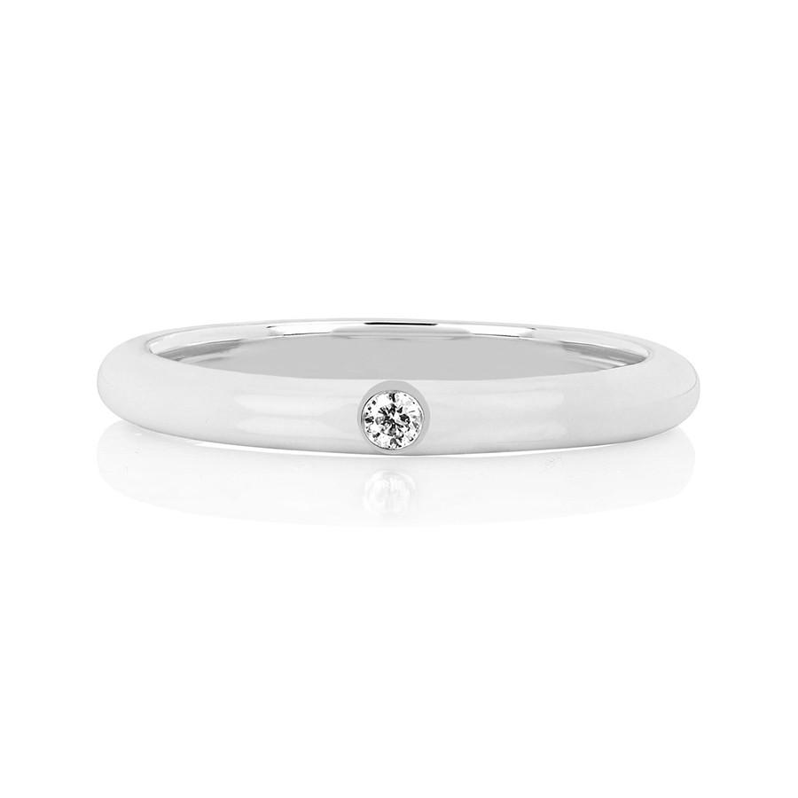 White Gold Jumbo White Enamel & Diamond Stack Ring by EF Collection