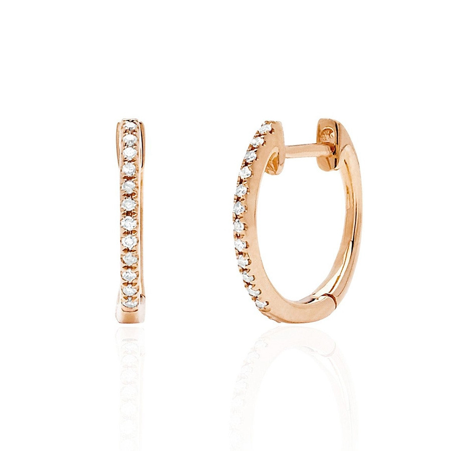 EF Collection Classic Diamond Rose Gold Huggie Earrings