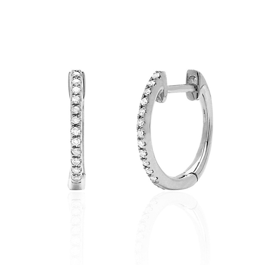 EF Collection Classic Diamond White Gold Huggie Earrings