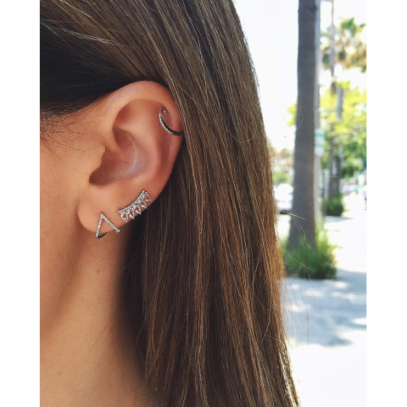 EF Collection Classic Diamond White Gold Huggie Earrings on Model