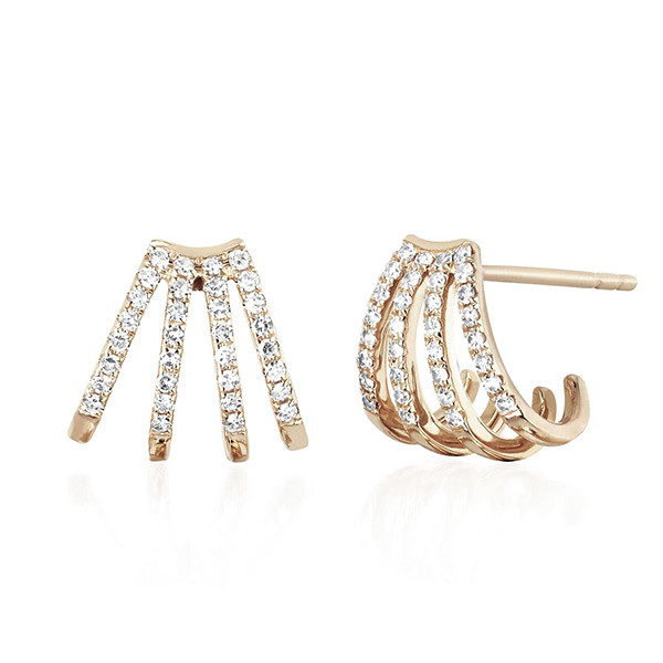 EF Collection Yellow Multi Diamond Huggie Earrings