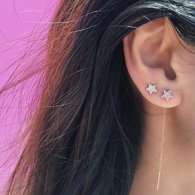 EF Collection Mini Diamond Yellow Gold Star Stud Earrings on Model