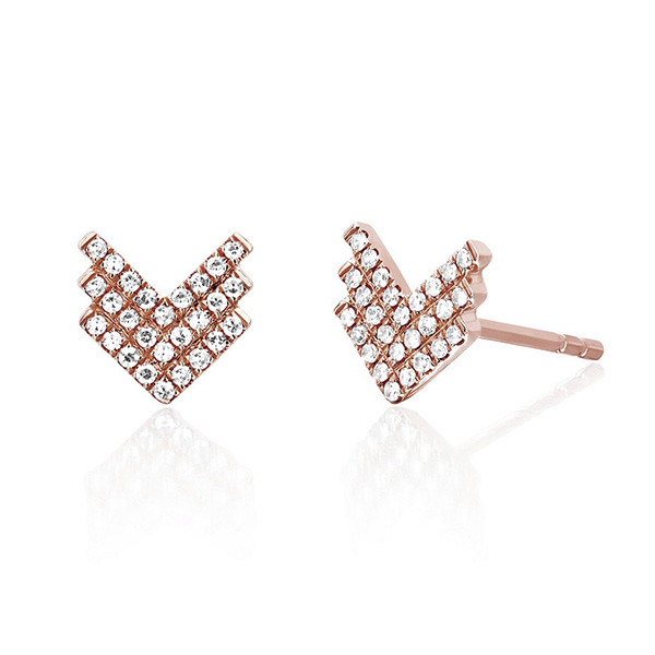 Shield Diamond Rose Gold Stud Earrings by EF Collection
