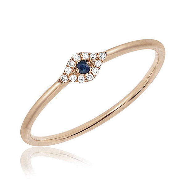 Mini Rose Gold Diamond Evil Eye Stack Ring by EF Collection