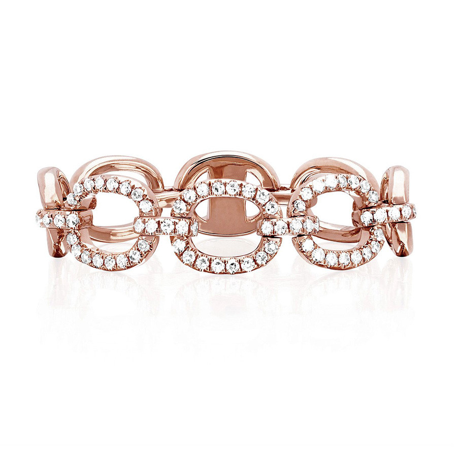 EF Collection Diamond Pave Link Ring Rose Gold