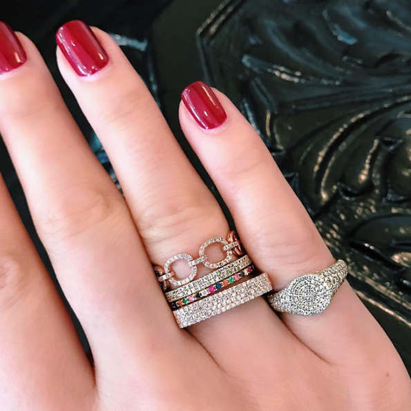 EF Collection Diamond Pave Link Ring Rose Gold on Model