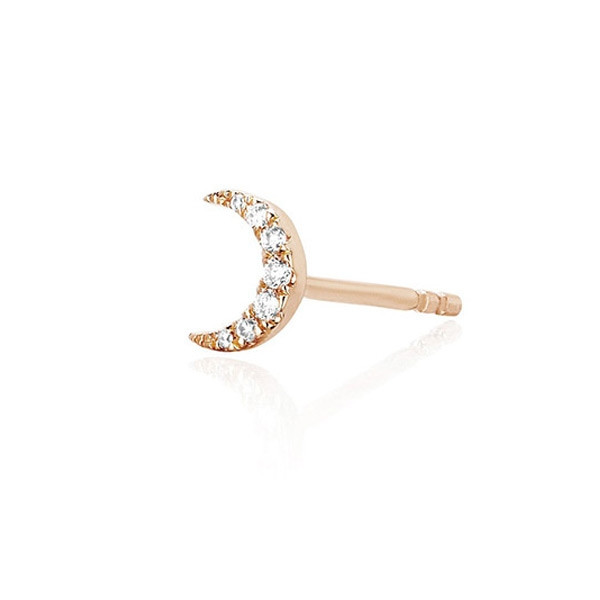 EF Collection Rose Gold Mini Diamond Single Moon Stud Earring Side View