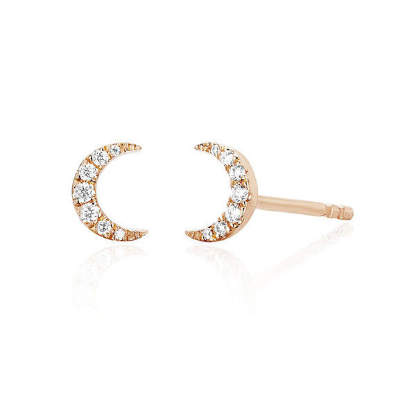 EF Collection Mini Diamond Moon Stud Rose Gold Earrings