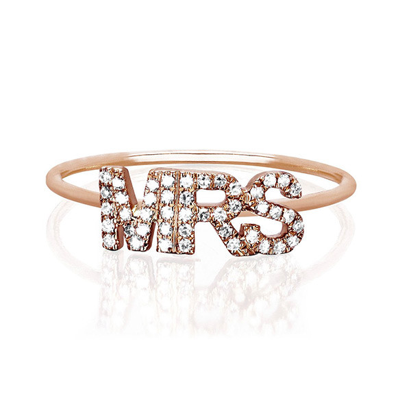 """EF Collection White Diamond """"Mrs"""" Stack Rose Gold Ring"""