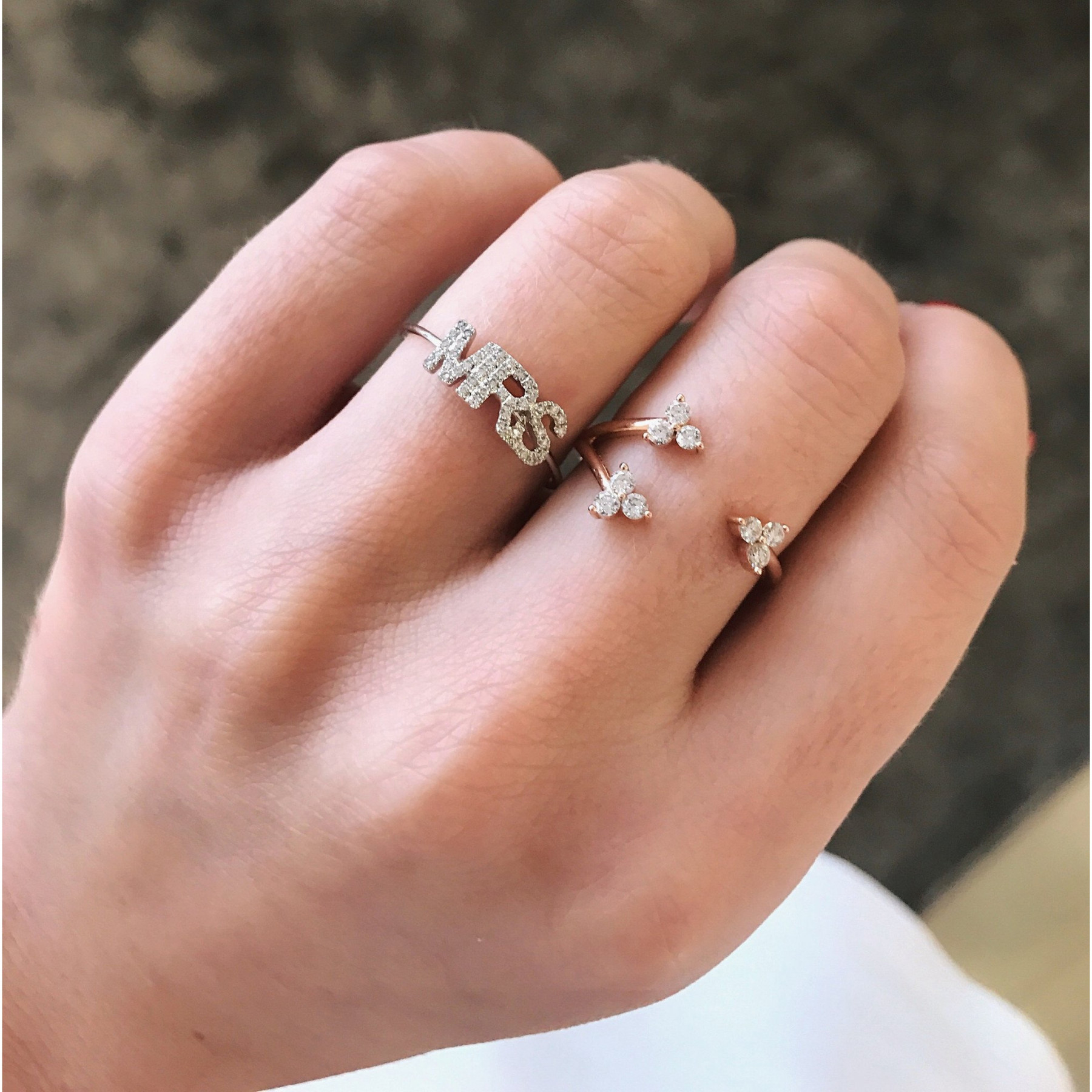 """EF Collection White Diamond """"Mrs"""" Stack Rose Gold Ring on Model"""