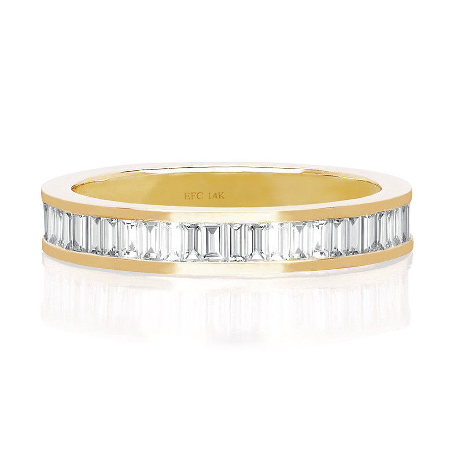EF Collection Half White Diamond Baguette Stack Yellow Gold Ring