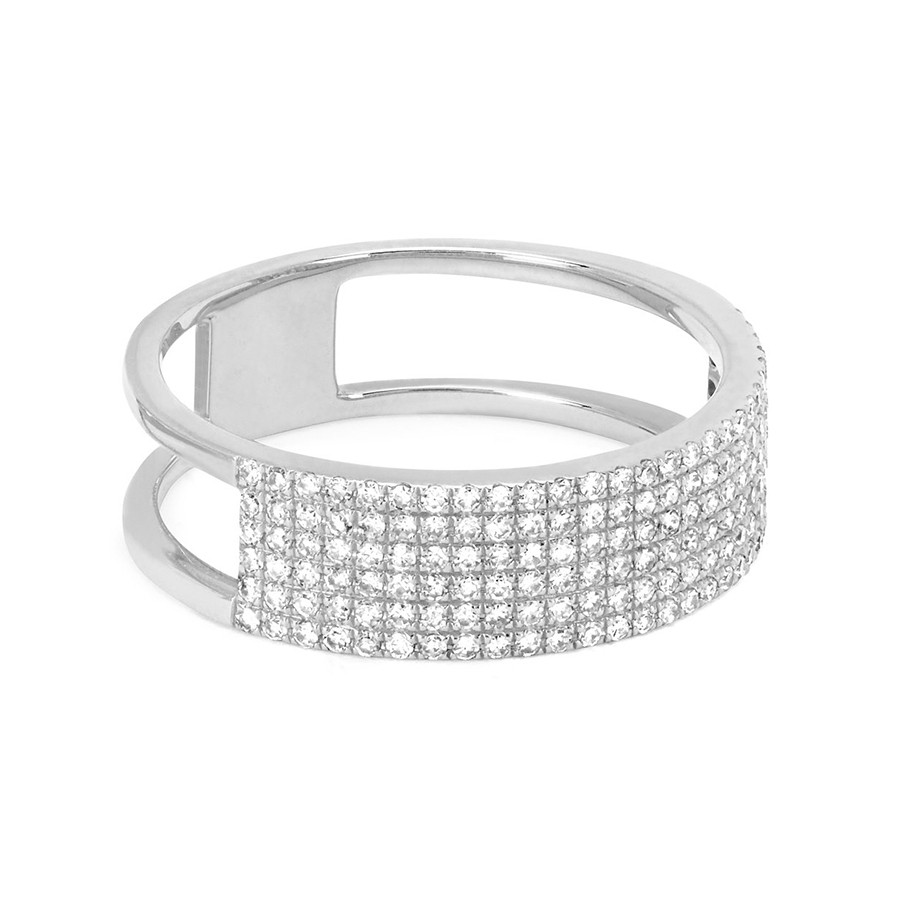 White Gold EF Collection Diamond Cigar Band Ring Angle View