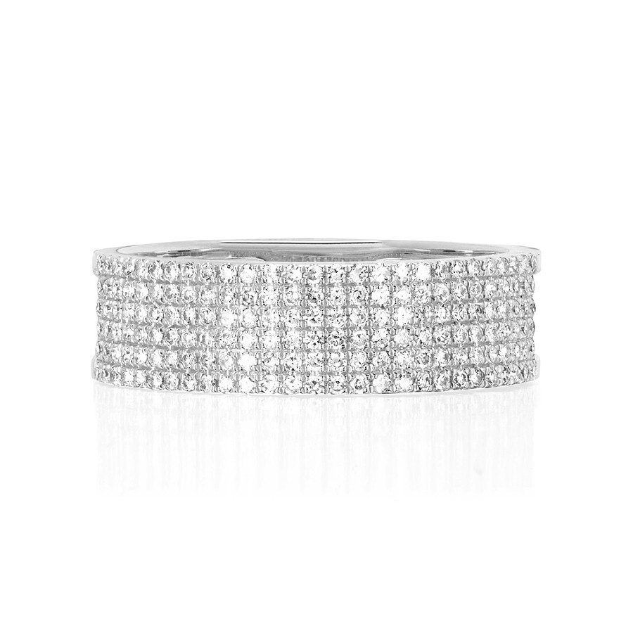 White Gold EF Collection Diamond Cigar Band Ring