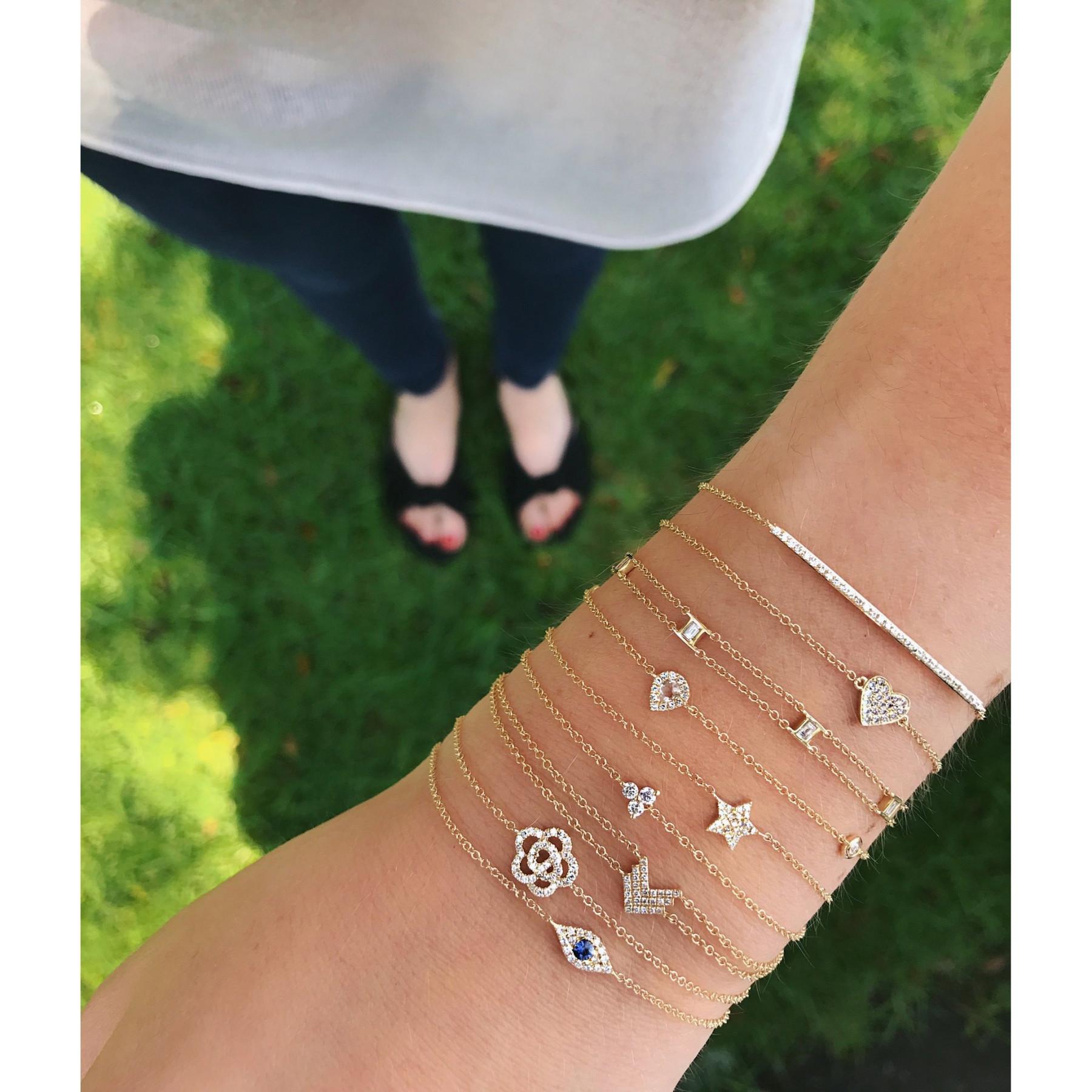 EF Collection Mini Diamond Star Yellow Gold Chain Bracelet on Model