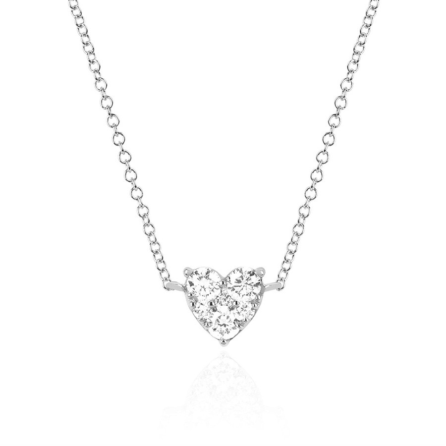 EF Collection White Gold Diamond Heart Choker Necklace