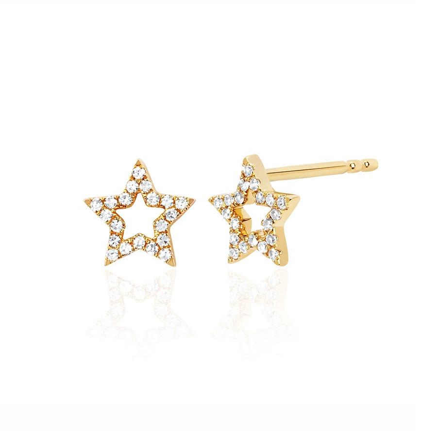 EF Collection Mini Open Star Yellow Gold Diamond Stud Earrings