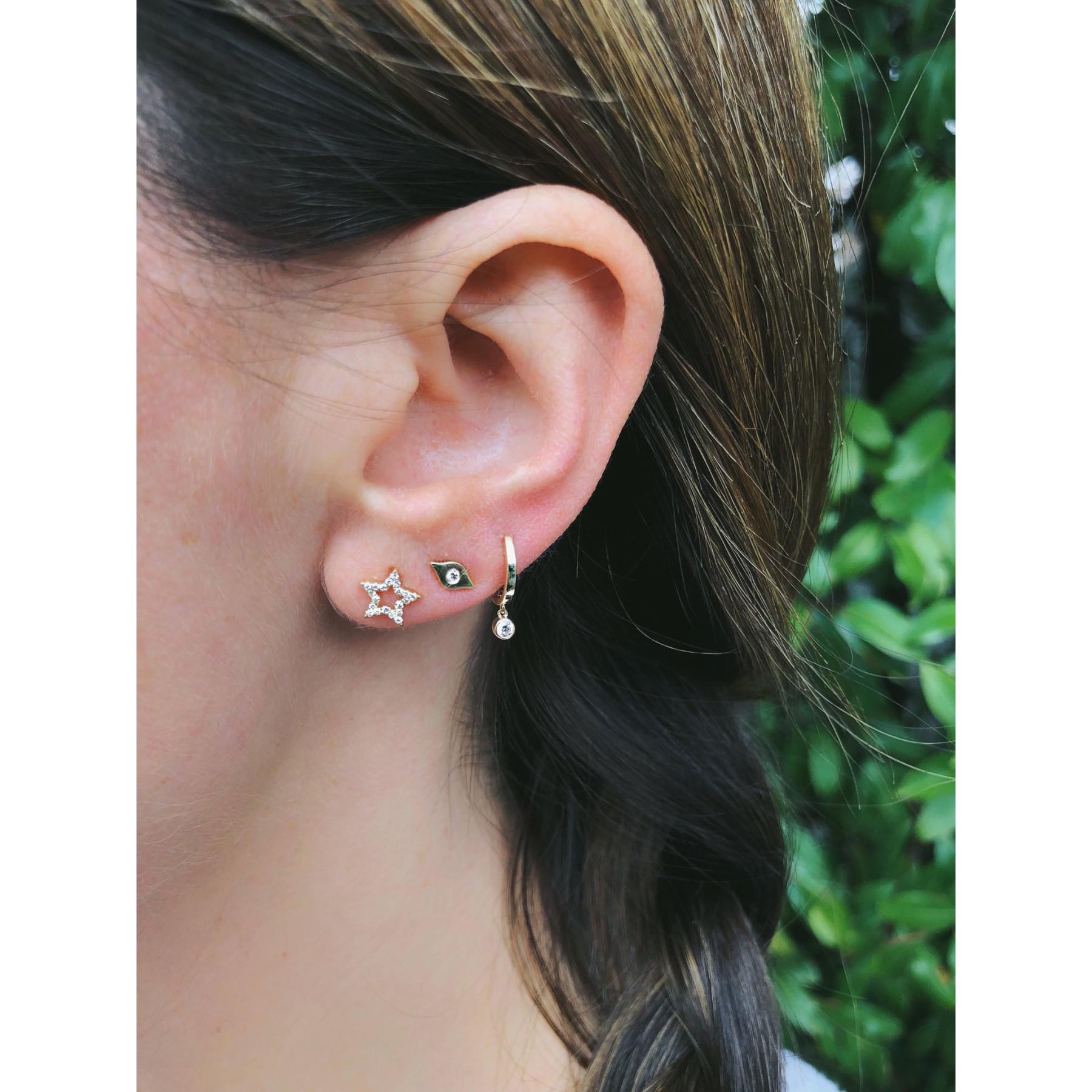 EF Collection Mini Open Star Yellow Gold Diamond Stud Earrings on Model