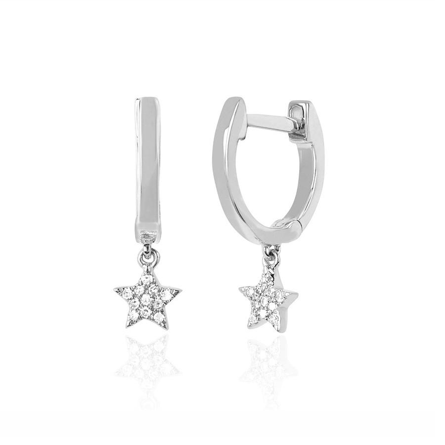 EF Collection Mini Diamond White Gold Star Huggie Drop Earrings