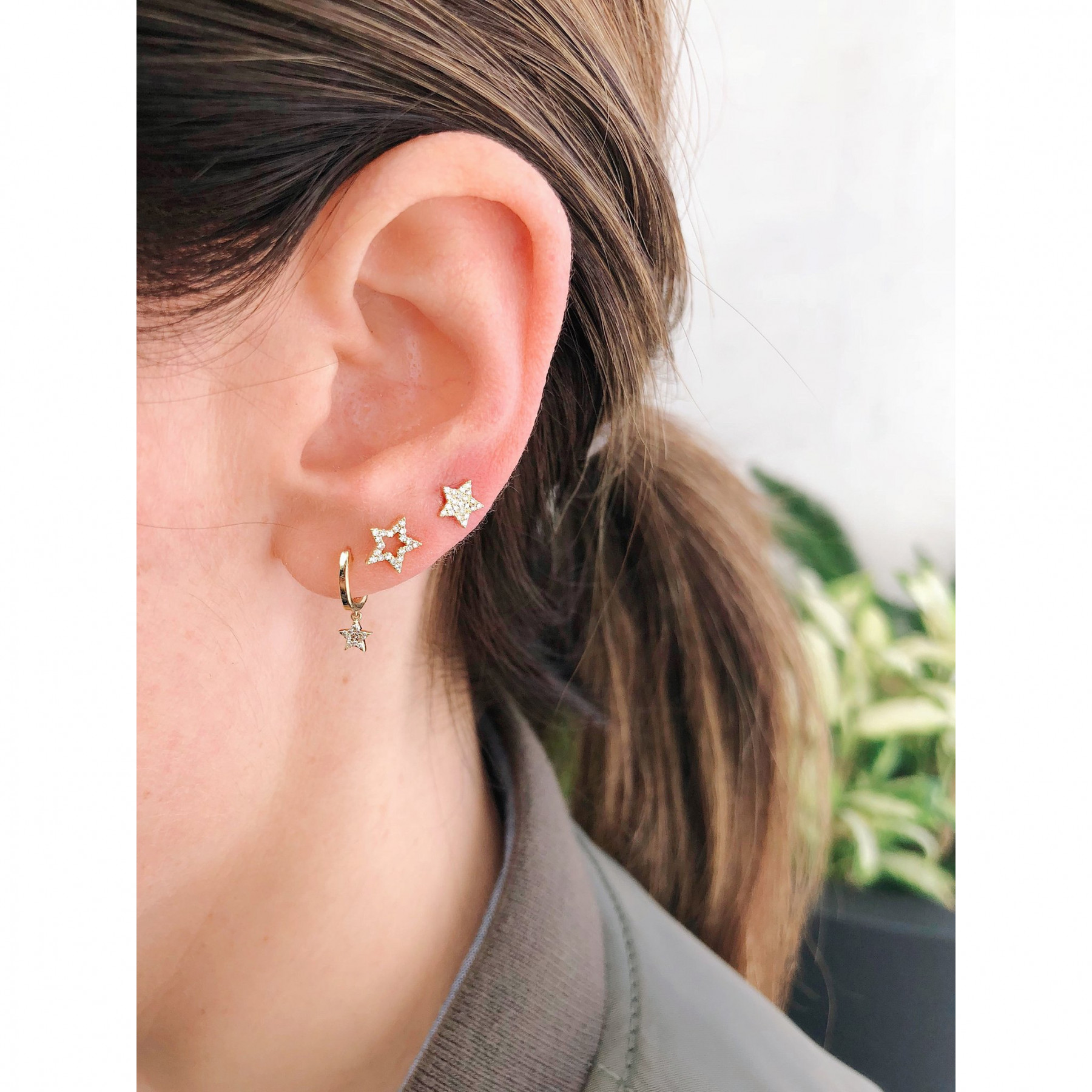 EF Collection Mini Diamond Yellow Gold Star Huggie Drop Earrings on Model