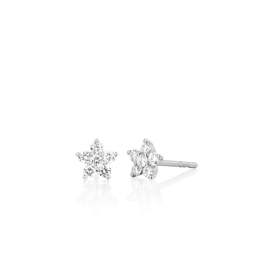 White Gold Diamond Flower Stud Earrings by EF Collection