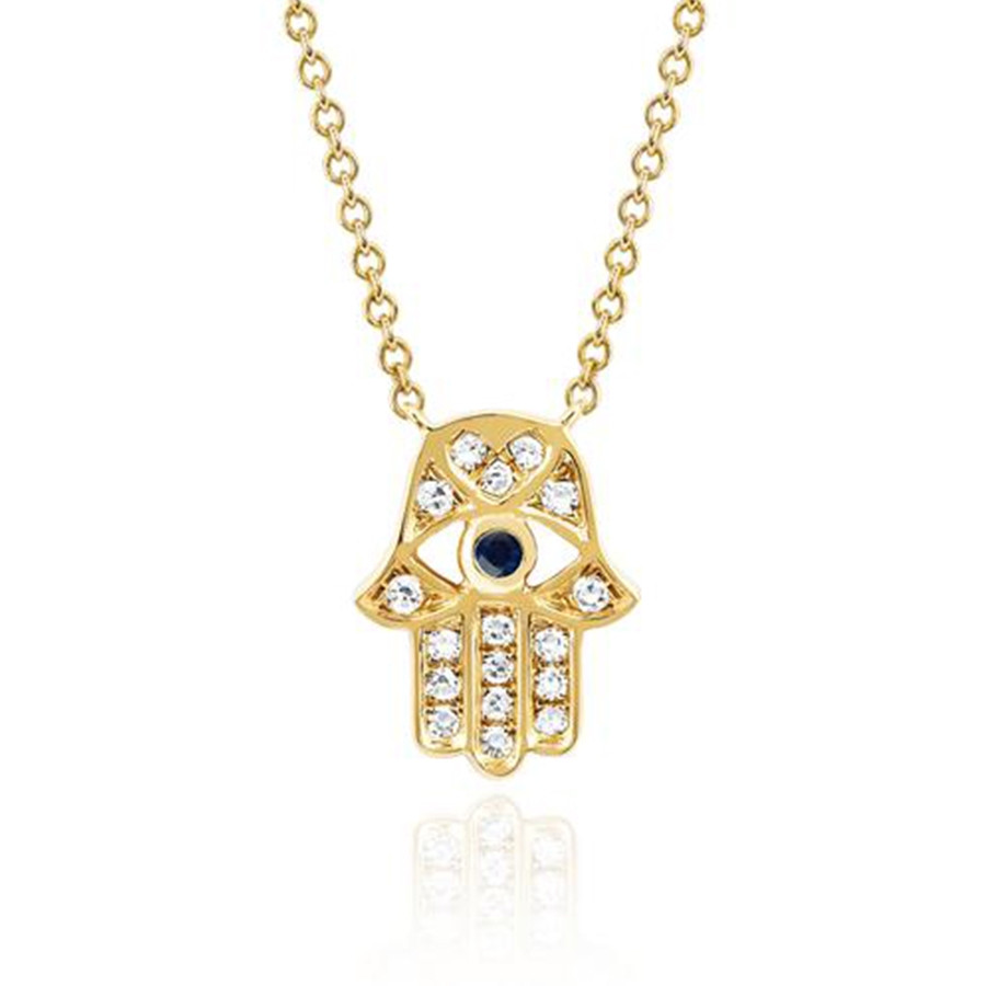 EF Collection Yellow Gold Diamond & Blue Sapphire Hamsa Evil Eye Pendant Necklace