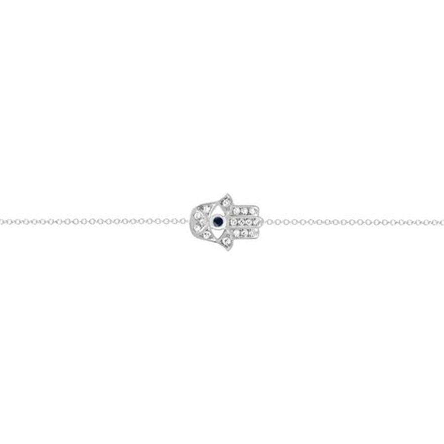 EF Collection White Gold Diamond & Blue Sapphire Hamsa Evil Eye Bracelet