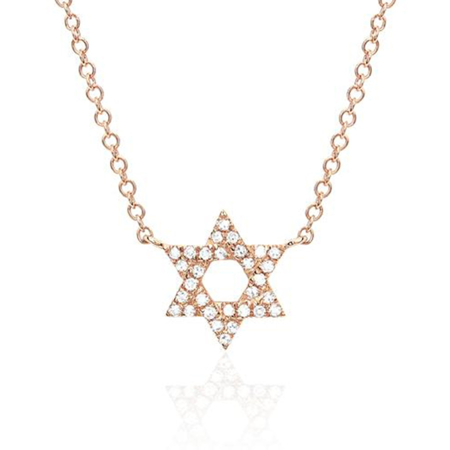 EF Collection Rose Gold Diamond Star of David Pendant Necklace