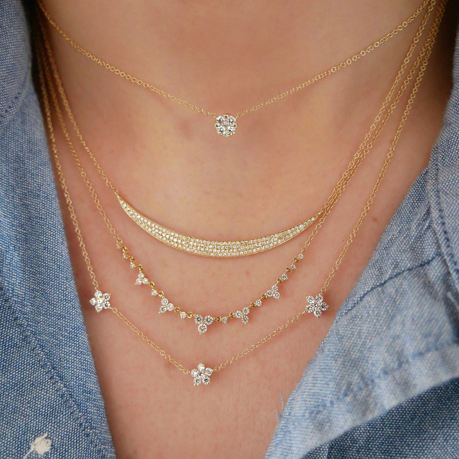 Triple Diamond Flower Station Necklace by EF Collection on Model