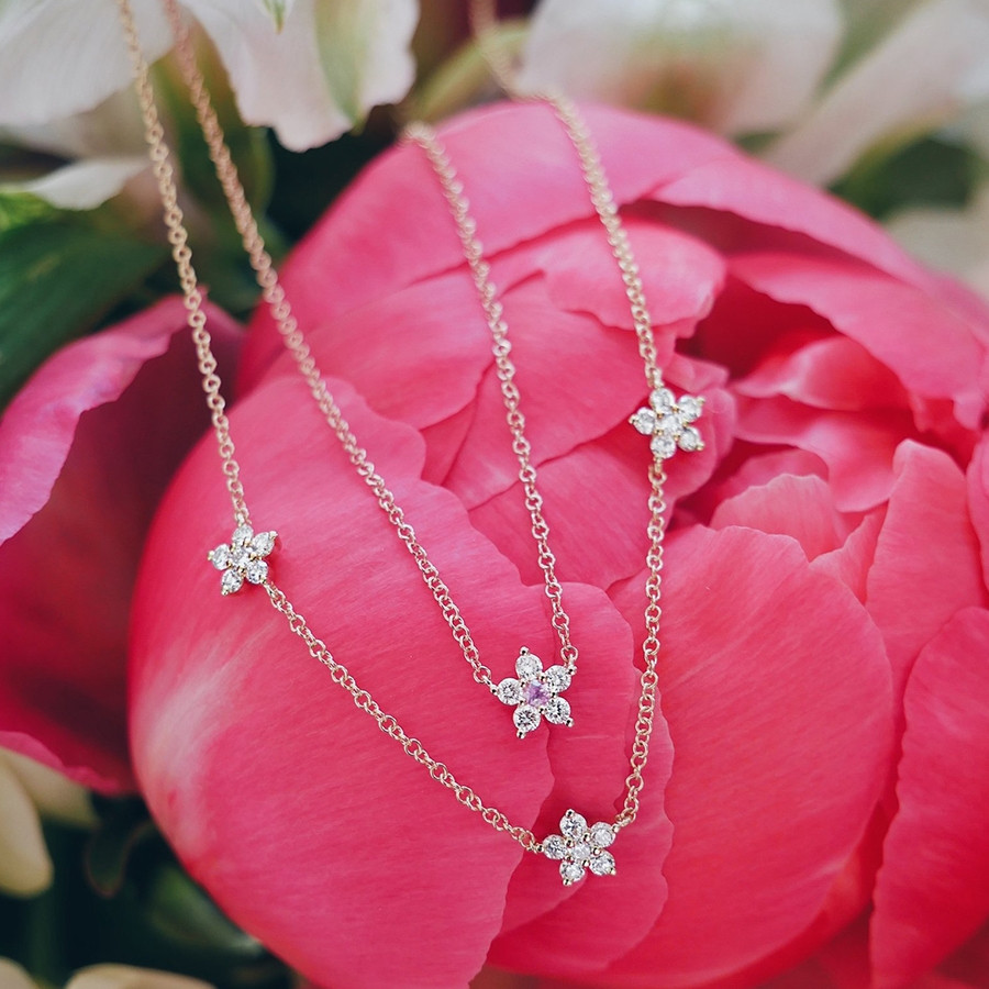 Triple Diamond Flower Station Necklace by EF Collection Close Up