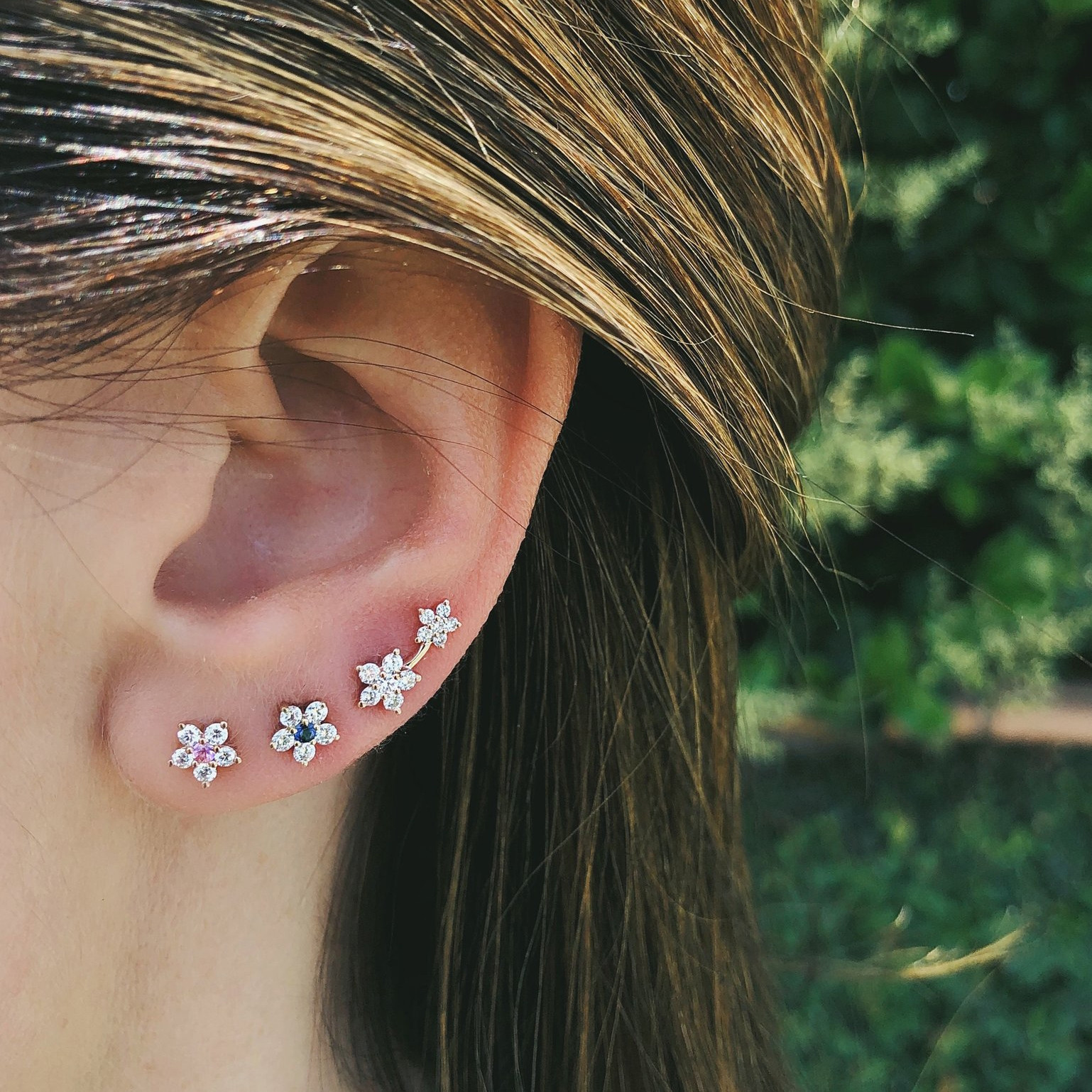 Diamond Double Flower Stud Earrings by EF Collection on Model