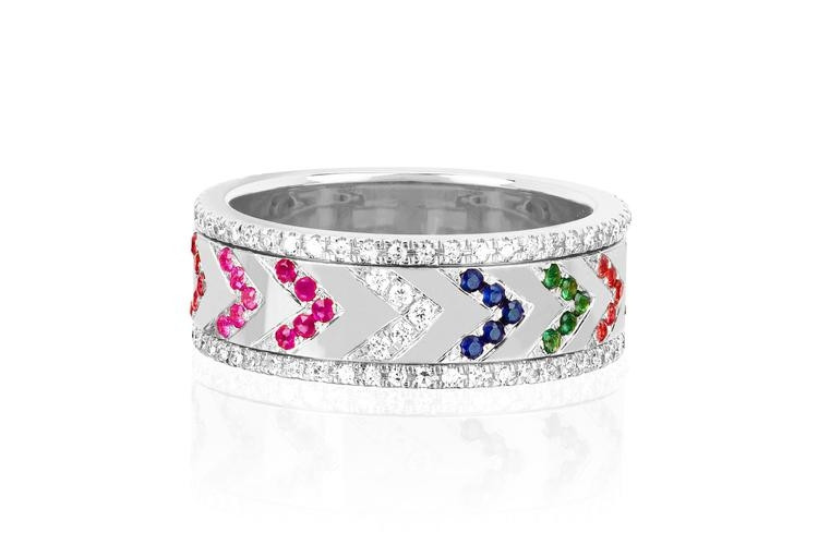 EF Collection Rainbow Chevron Spinning Ring in White Gold