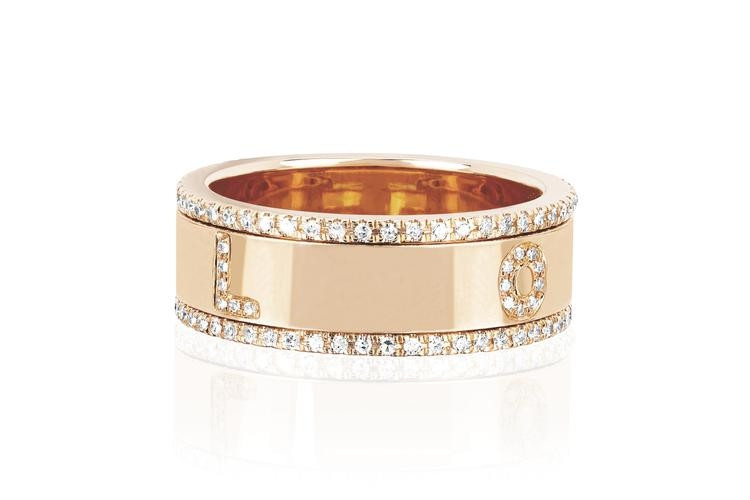 EF Collection Rose Gold Diamond Love Spinning Ring