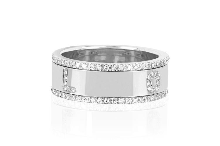 EF Collection White Gold Diamond Love Spinning Ring