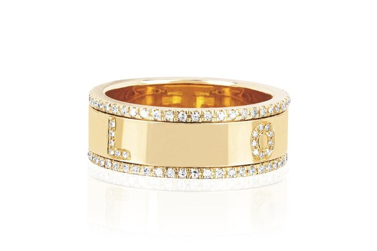 EF Collection Diamond Love Spinning Ring on yellow gold