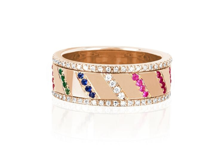 EF Collection Rainbow Slash Spinning Ring in Rose Gold