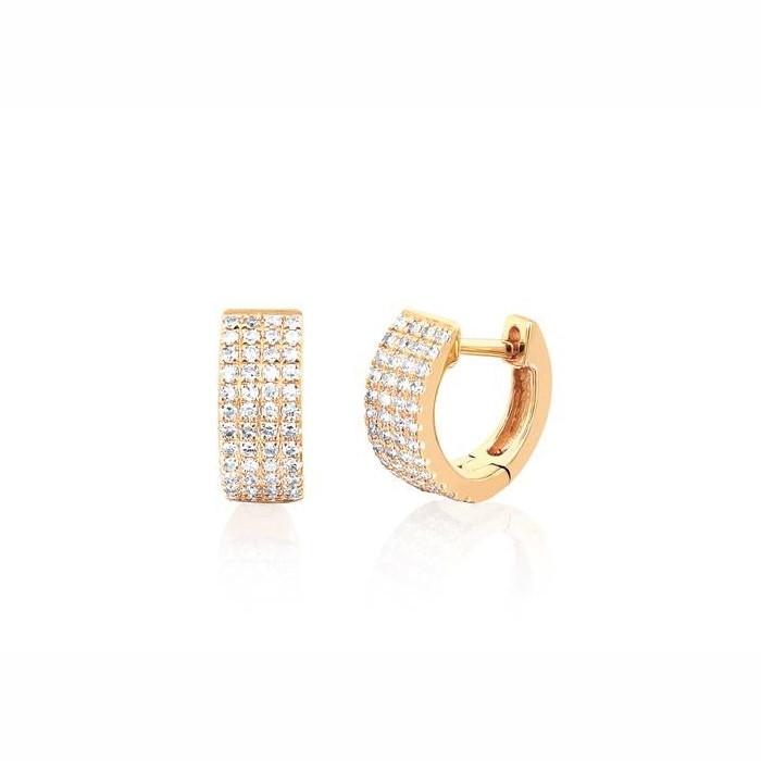 EF Collection Yellow Gold Jumbo Diamond Huggie Earrings