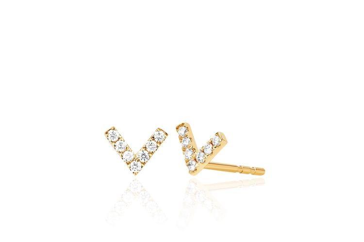 EF Collection Mini Diamond Chevron Stud Earrings in 14K Yellow Gold