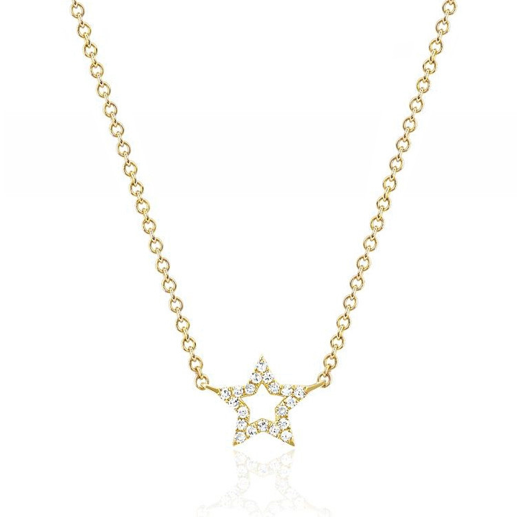EF Collection Yellow Gold Mini Open Star Diamond Necklace