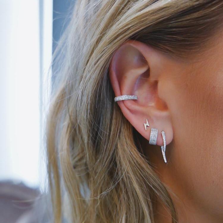 EF Collection Diamond Hook Yellow Gold Stud Earrings on Model