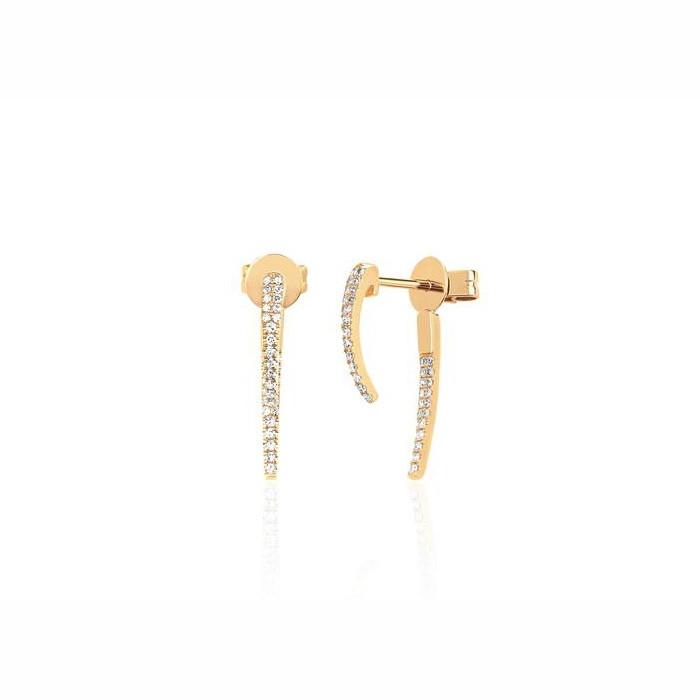 EF Collection Diamond Hook Yellow Gold Stud Earrings