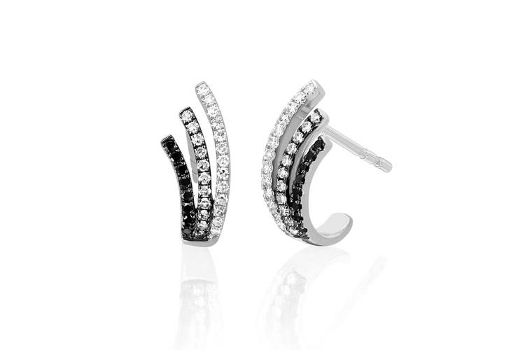 EF Collection Black & White Diamond Fade Willow Earrings in 14K White Gold